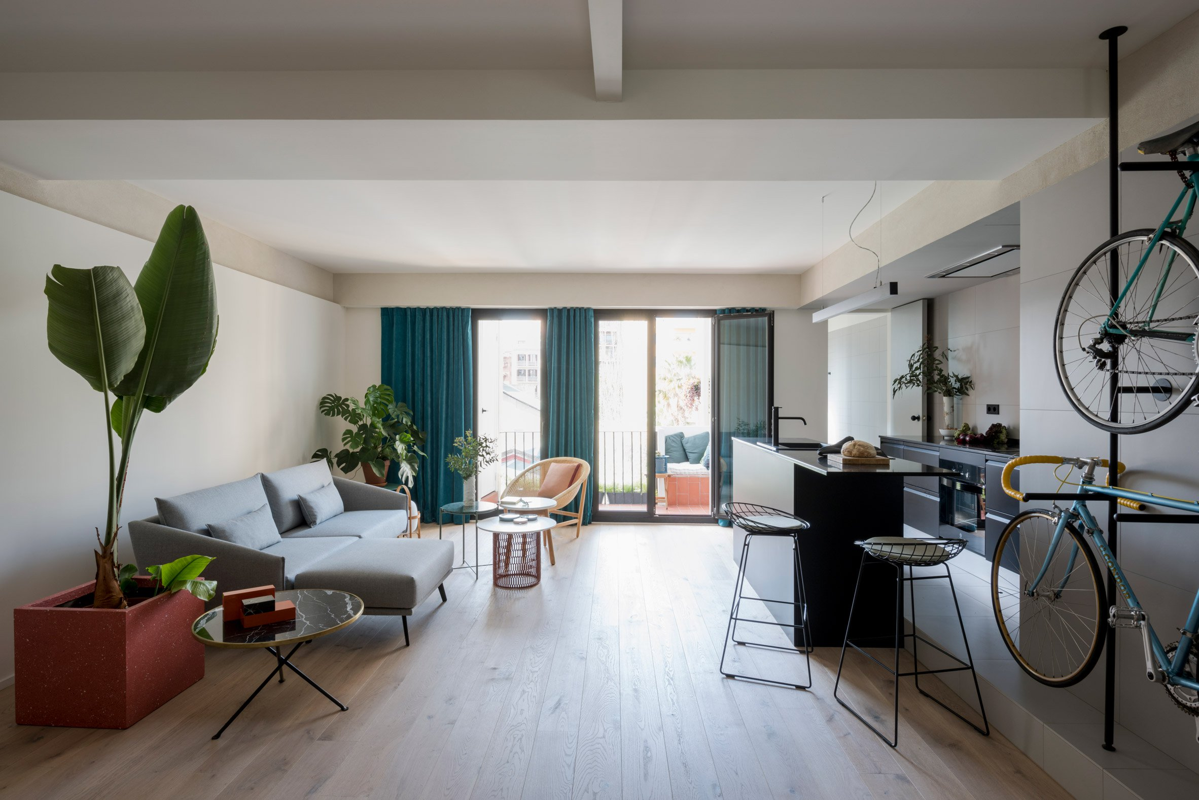3. Home reno by Colombo and Serboli in Barcelona - Apartment renovation in Barcelona features bespoke bicycles storage