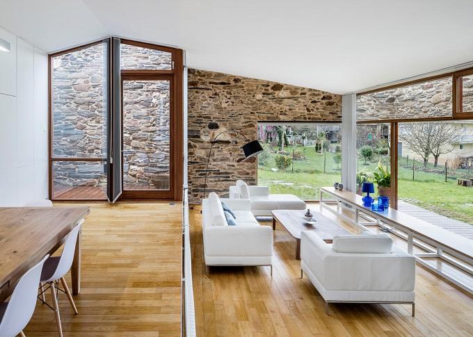3. Stone wine cellar converted into home in Galicia - Stone wine cellar converted into a home by Cubus Arquitectura