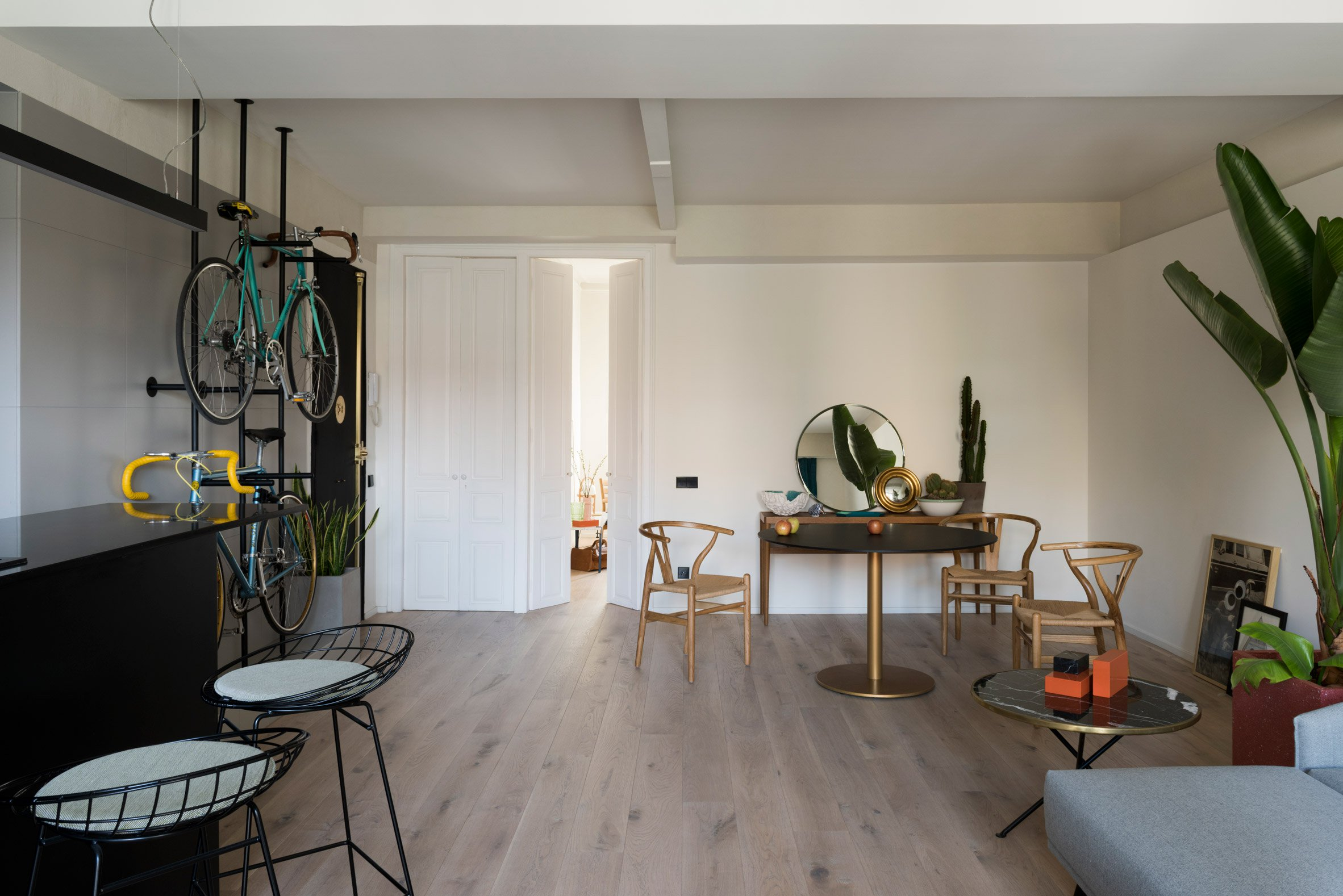 4. Home reno by Colombo and Serboli in Barcelona - Apartment renovation in Barcelona features bespoke bicycles storage