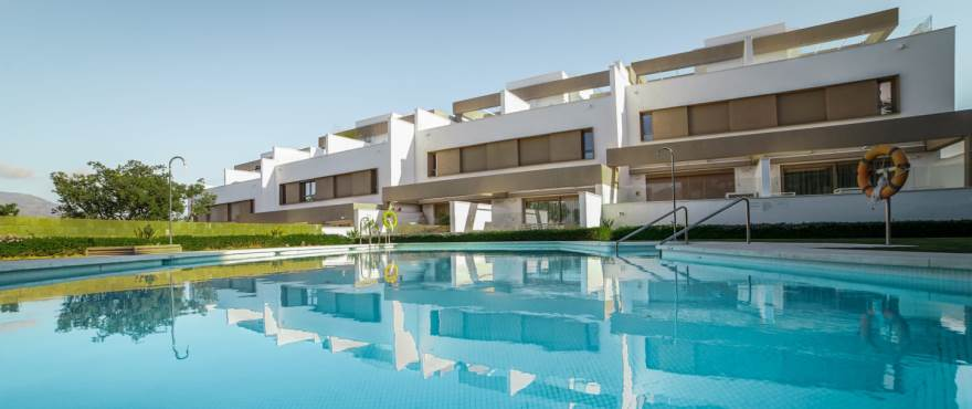 A1 Horizon golf townhouse pool January 2019 - Last townhouses for sale in La Cala Golf, Mijas (Malaga). Now key ready