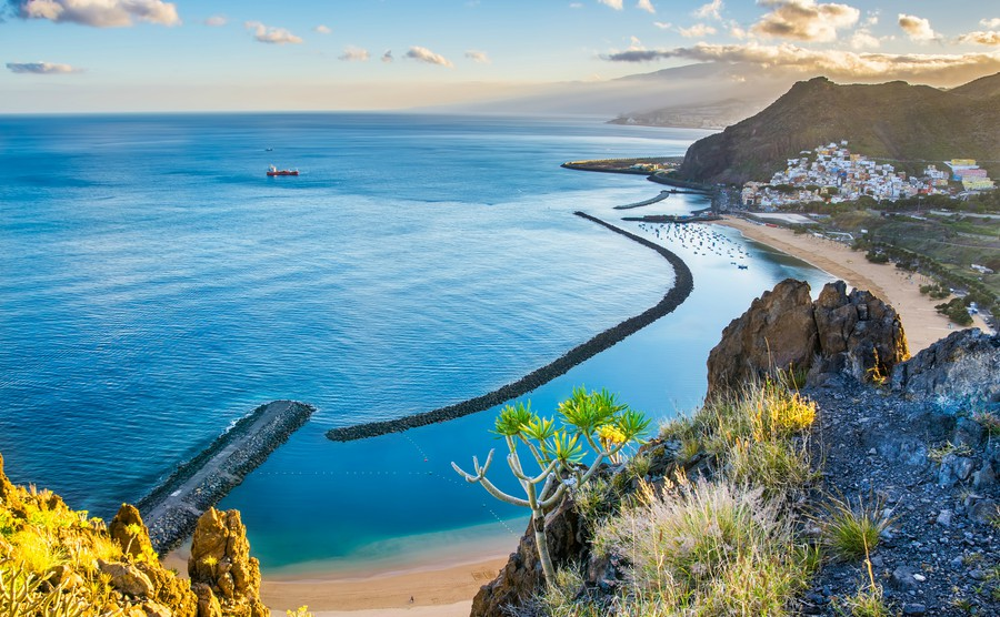 Amazing view of beach las Teresitas with yellow sand. Location Santa Cruz de Tenerife Tenerife Can - Where to invest in Spain's booming property market in 2018