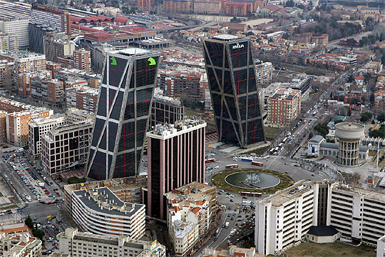 Torres Kio3 - Architecture in Spain: Puerta de Europa, Madrid, by Johnson and Burgee