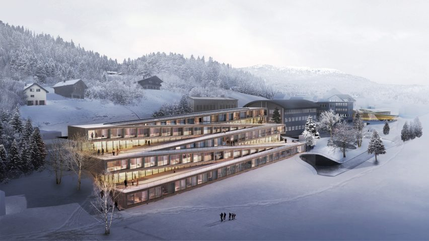 audemars piguet hotel des horlogers big dezeen 2364 hero 852x479 - Swiss hotel with zigzagging ski slope on its roof by Bjarke Ingels Group