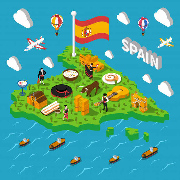 mapa isometrico espana ilustracion 1284 8946 - Spain is the world's most attractive country for tourism