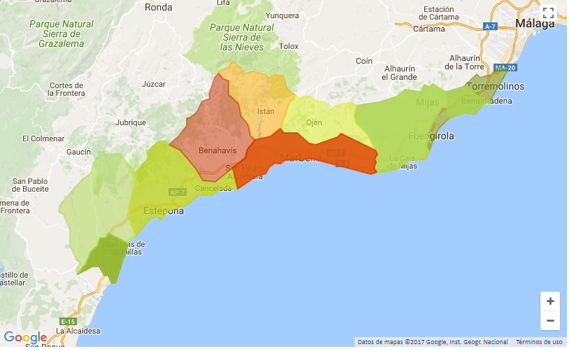 mapa marbella - Properties in the capital of Málaga are cheaper than in towns of Costa del Sol
