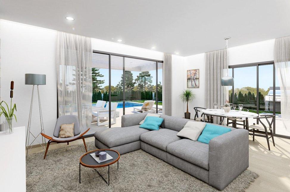salón 1 - Stunning modern villa in Alicante with extensive green areas