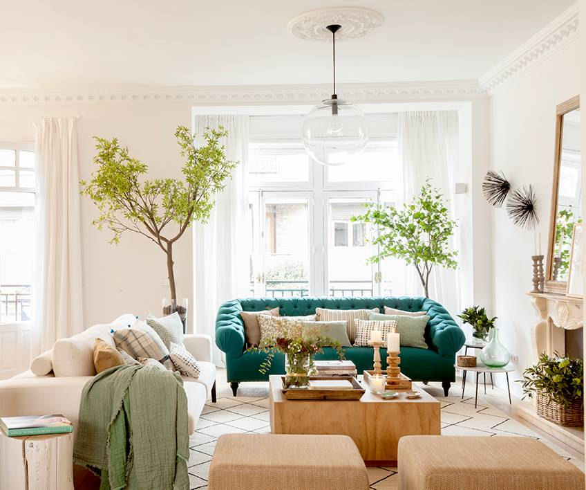 salon con sillon verde y arbolitos a los lados 00452030 o 82905ea2 848x708 - Trends in decoration 2019