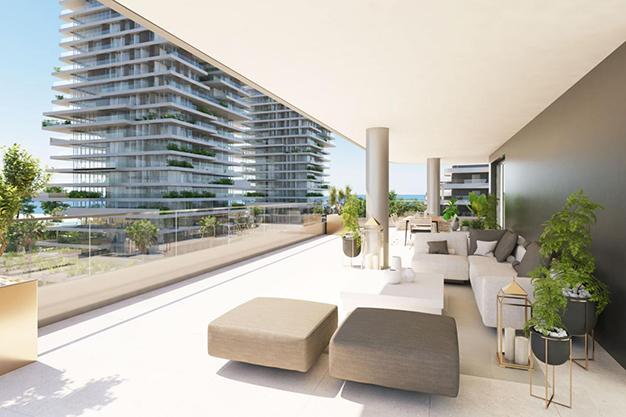 terraza - Modern beachfront apartment in Málaga