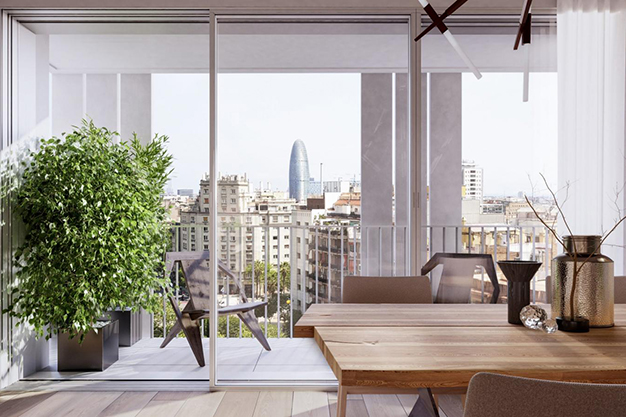 vistas piso lujo barcelona - This luxury apartment in Barcelona has it all: spaciousness, modern style and a private terrace